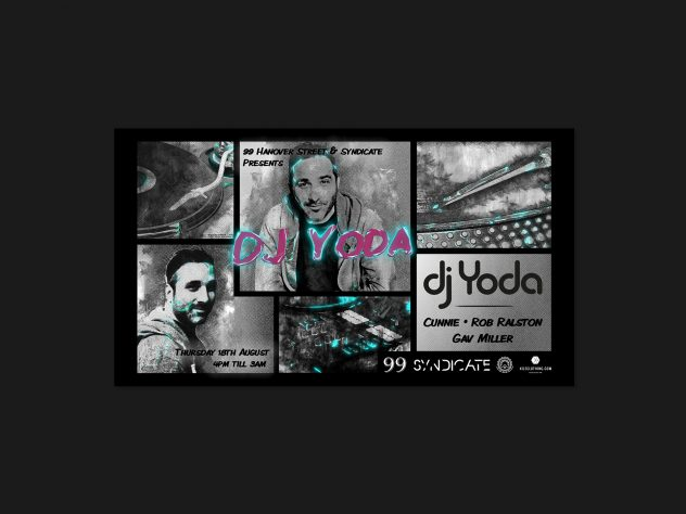 Still image from the 99 Hanover Street Edinburgh Festival menu motion design advertising their DJ Line-up